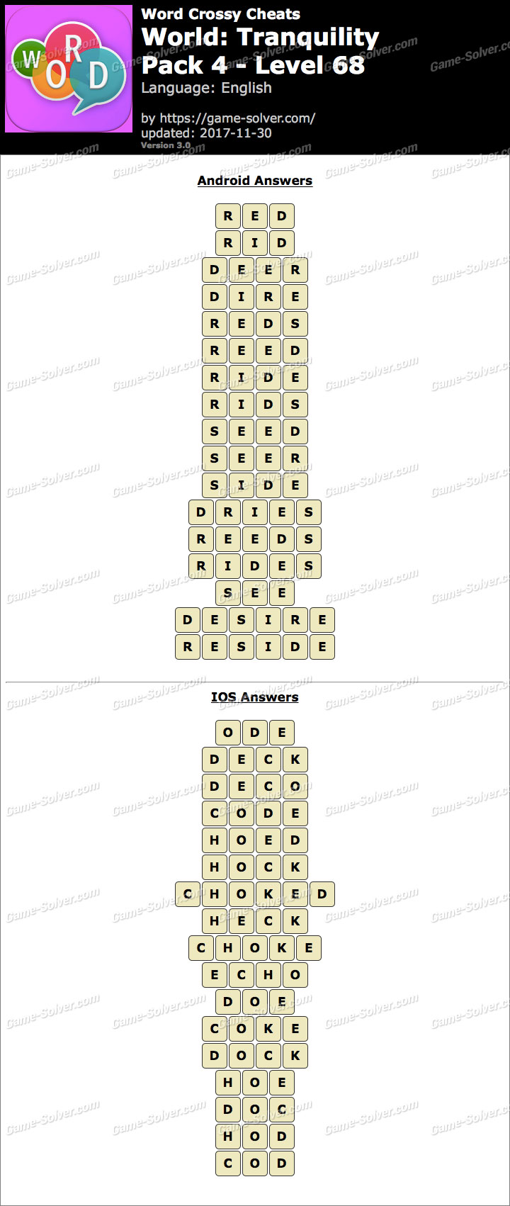 Word Crossy Tranquility Pack 4 Level 68 Answers
