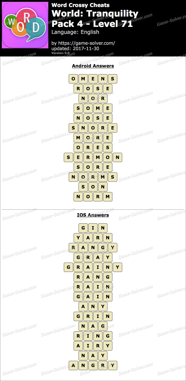 Word Crossy Tranquility Pack 4 Level 71 Answers
