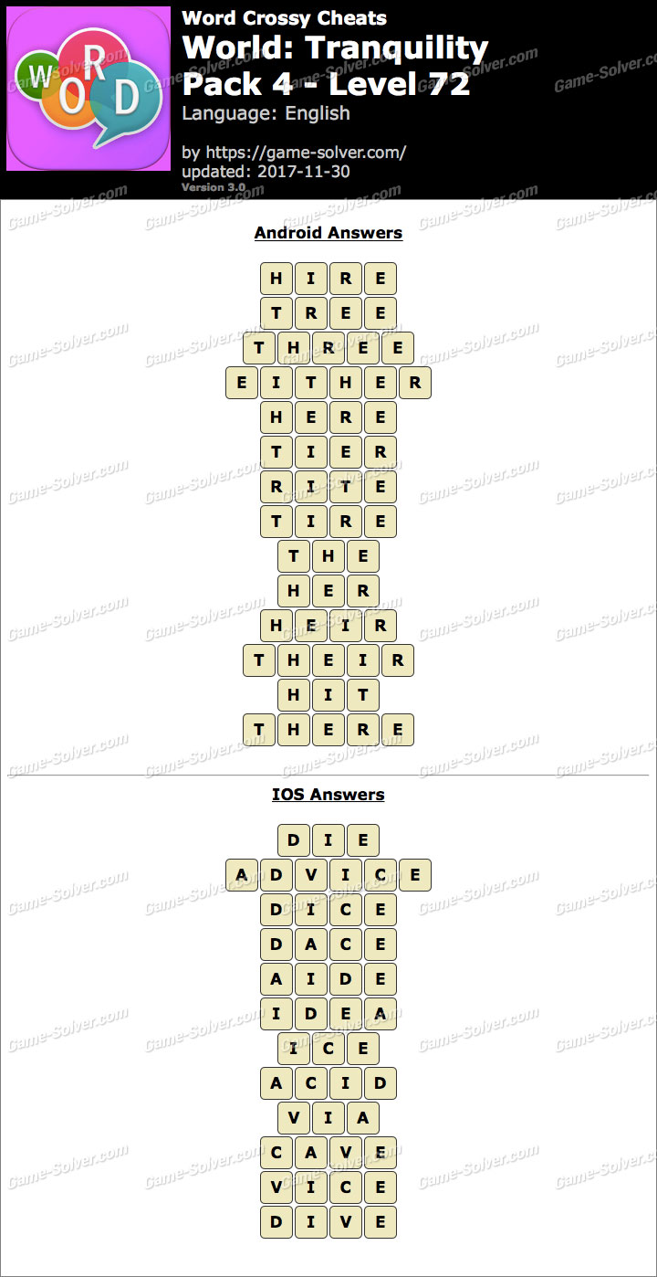 Word Crossy Tranquility Pack 4 Level 72 Answers