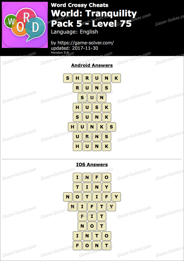 Word Crossy Tranquility Pack 5 Level 75 Answers