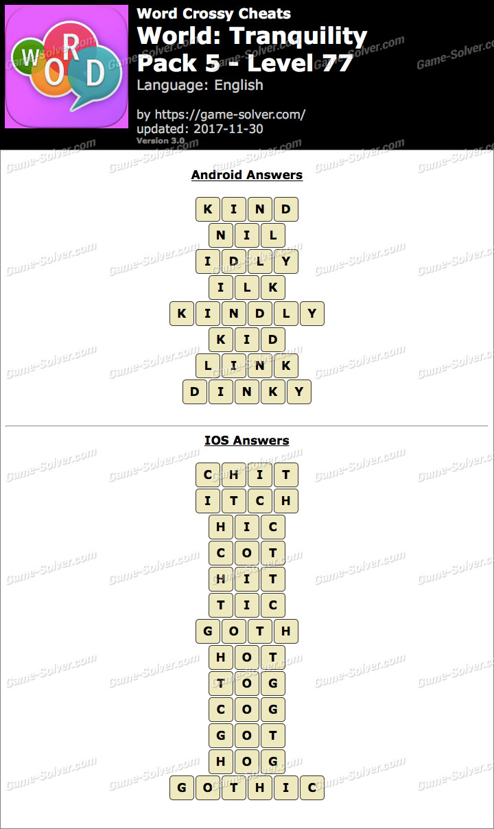 Word Crossy Tranquility Pack 5 Level 77 Answers