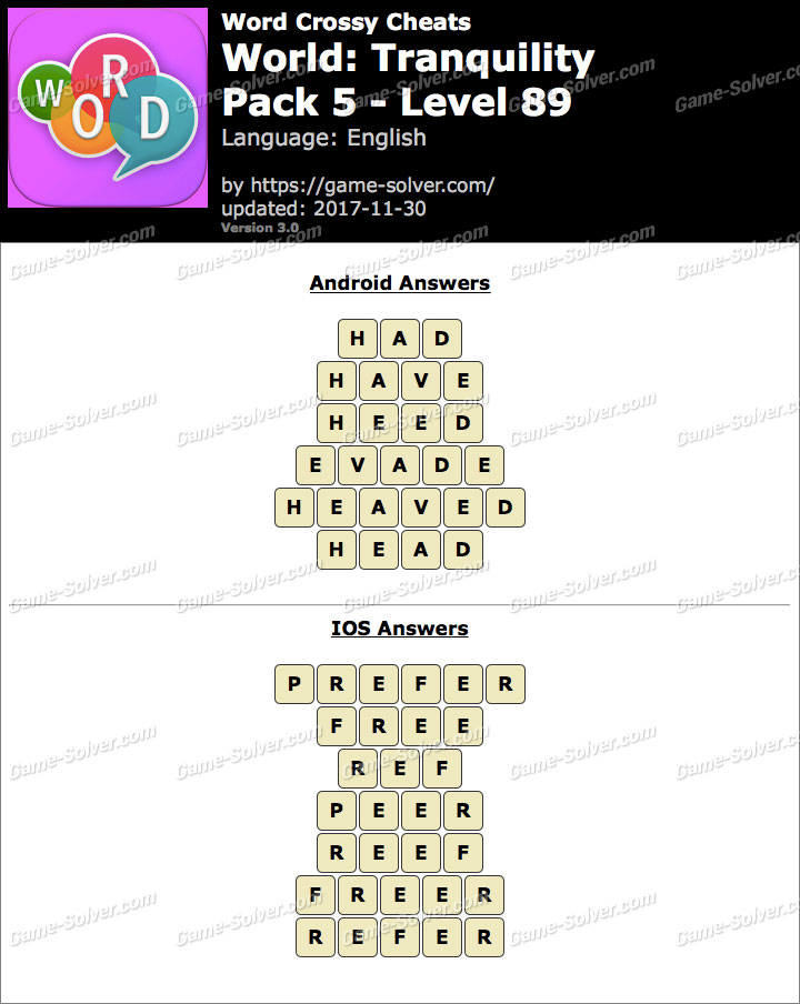 Word Crossy Tranquility Pack 5 Level 89 Answers