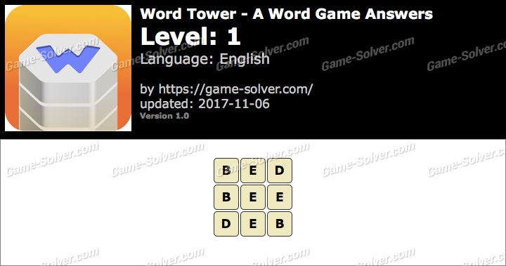 Word Tower Level 1 Answers