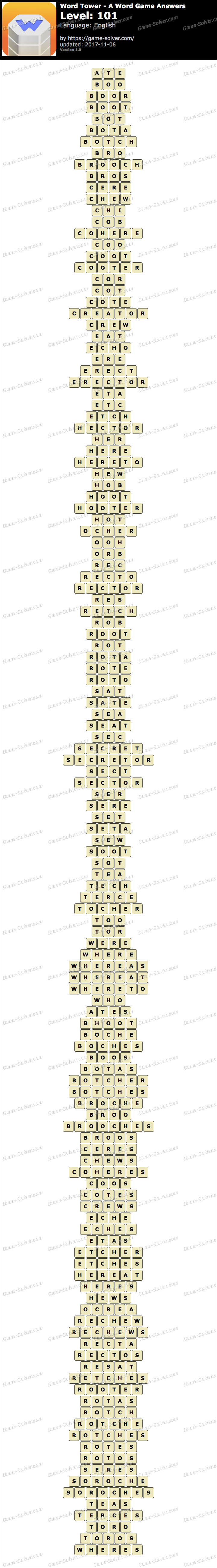 Word Tower Level 101 Answers