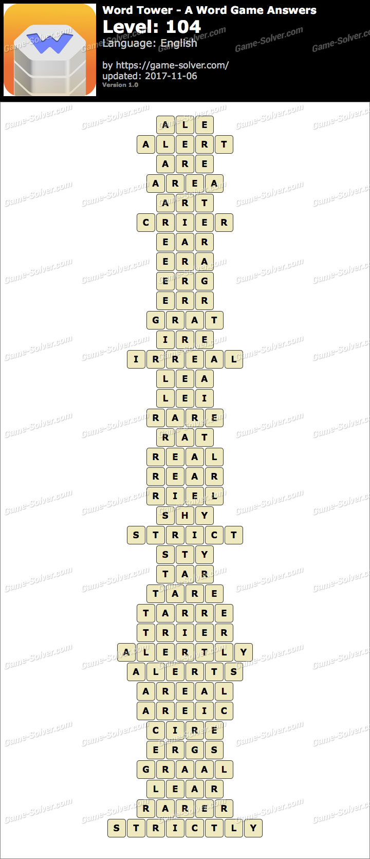 Word Tower Level 104 Answers