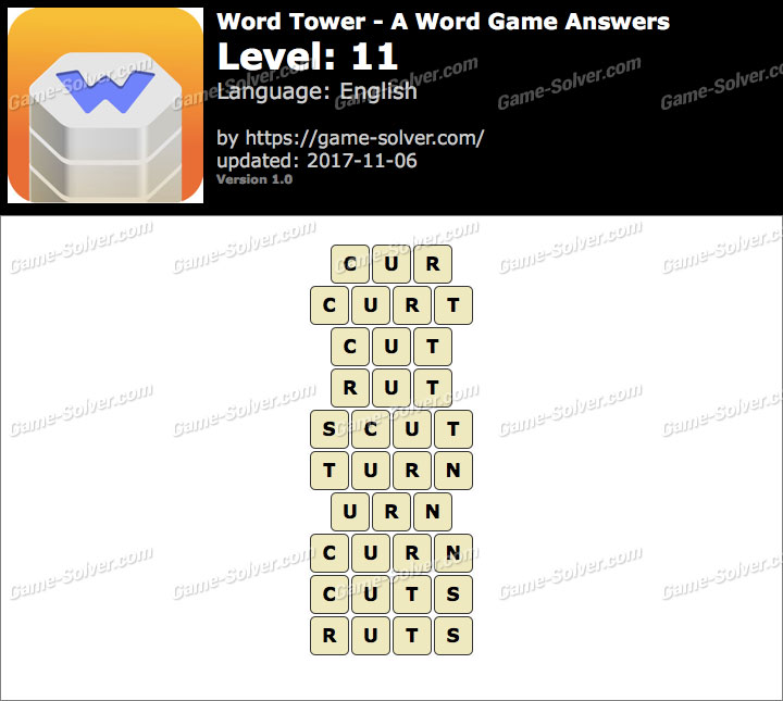 Word Tower Level 11 Answers