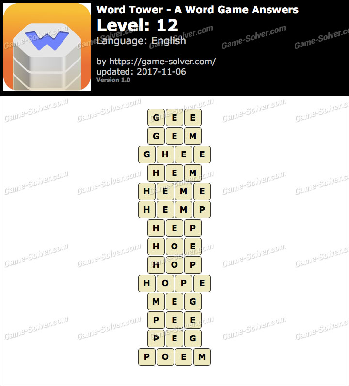 Word Tower Level 12 Answers