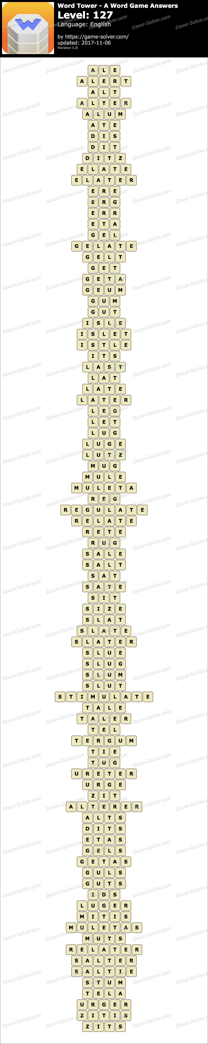 Word Tower Level 127 Answers