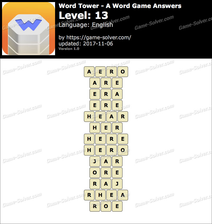 Word Tower Level 13 Answers