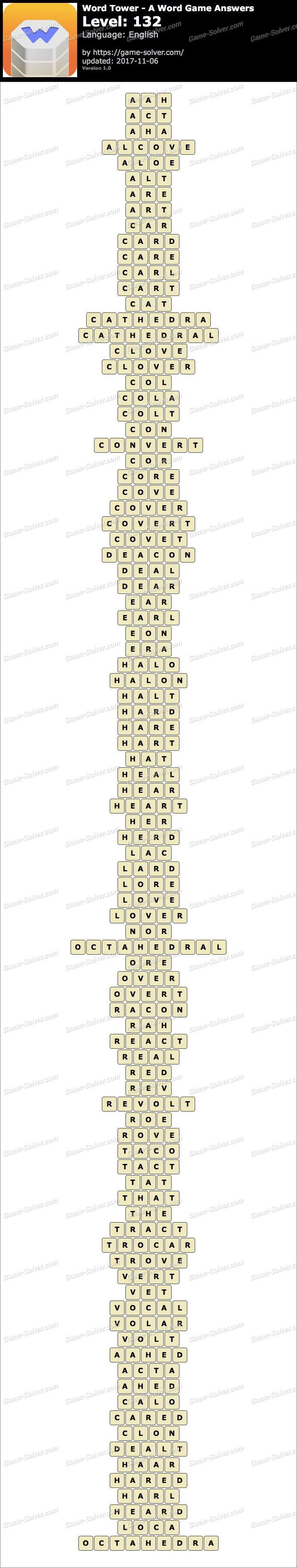 Word Tower Level 132 Answers