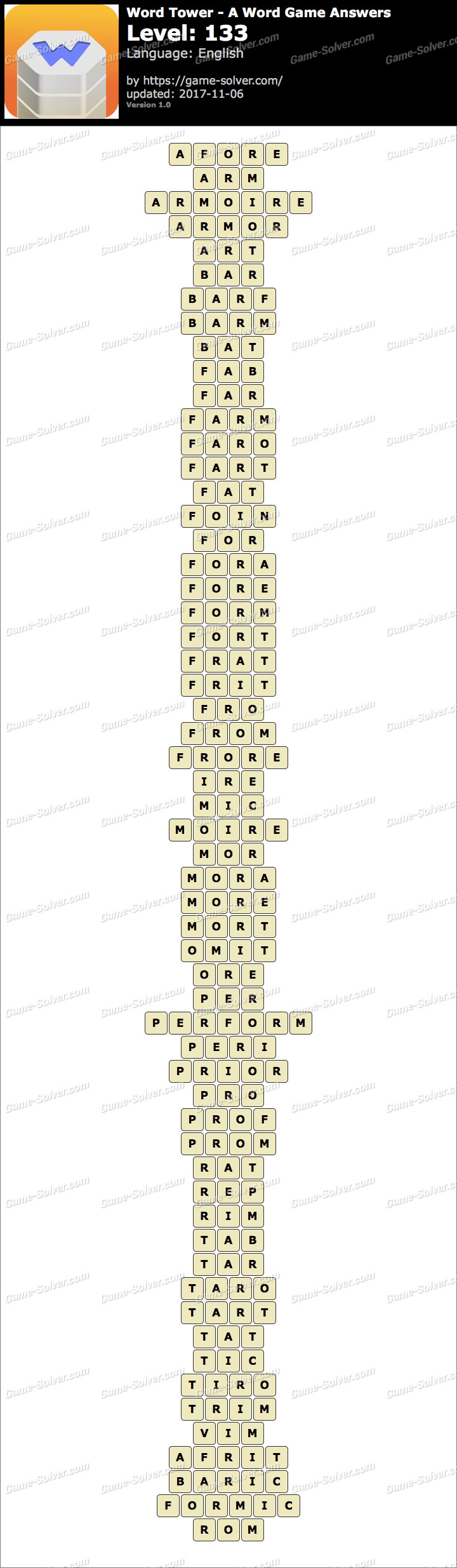Word Tower Level 133 Answers