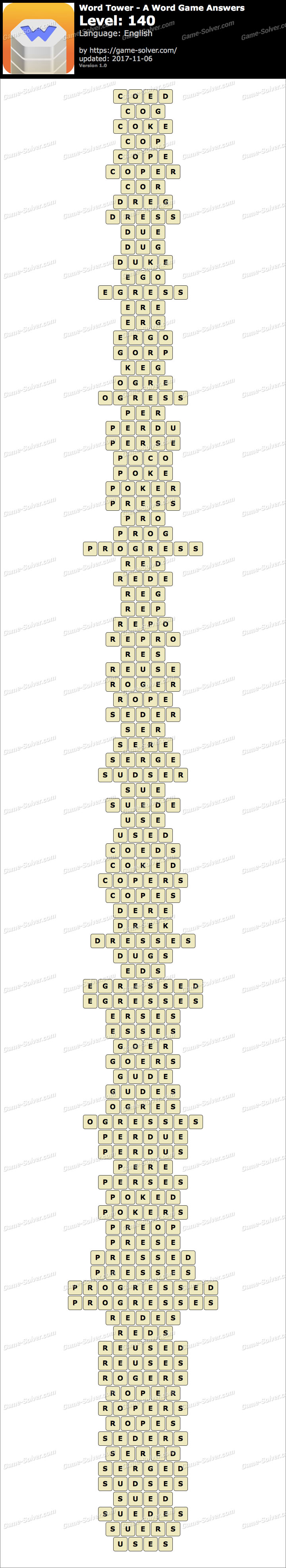 Word Tower Level 140 Answers