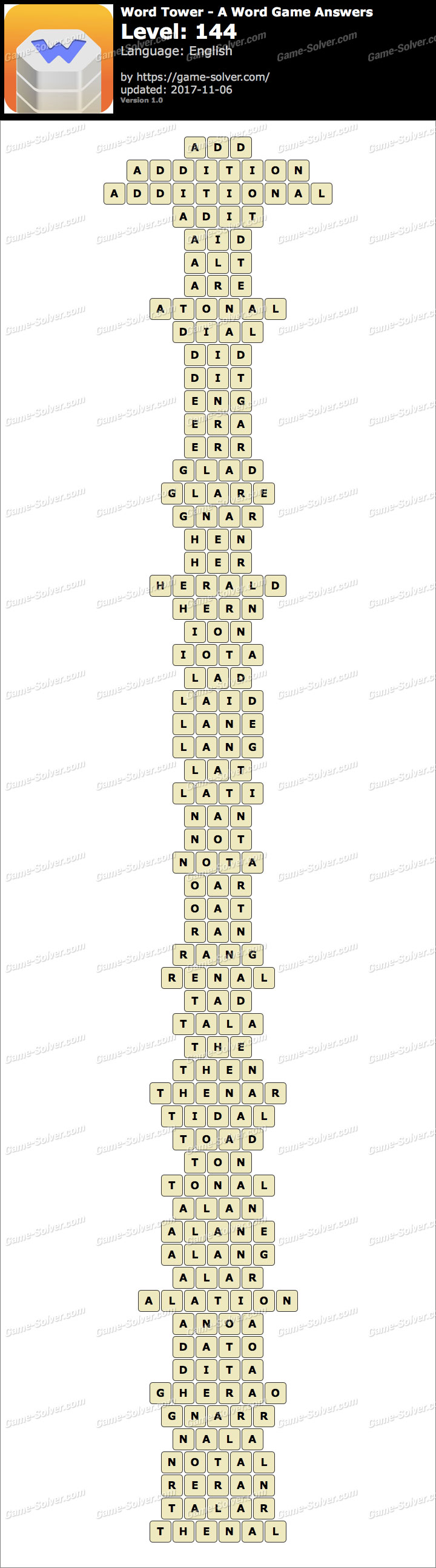 Word Tower Level 144 Answers