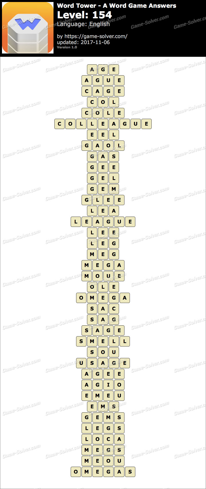 Word Tower Level 154 Answers