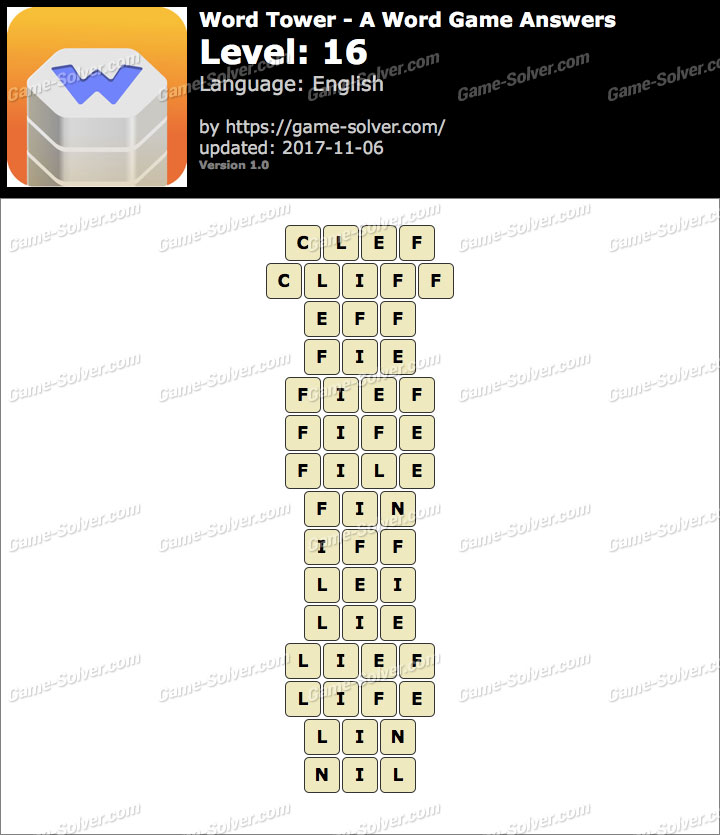 Word Tower Level 16 Answers