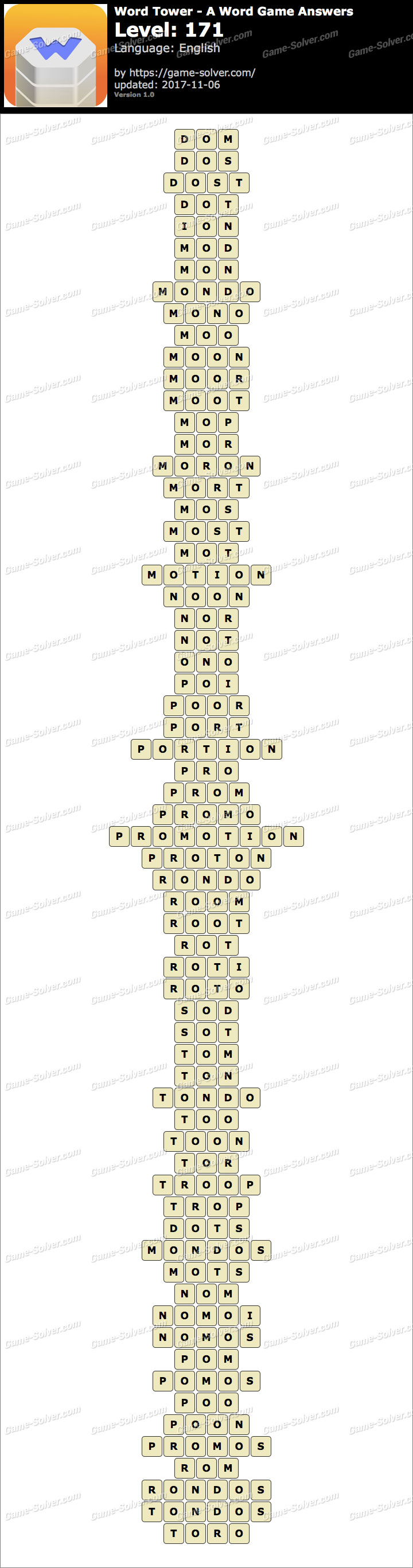 Word Tower Level 171 Answers