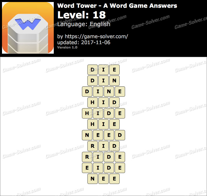 Word Tower Level 18 Answers