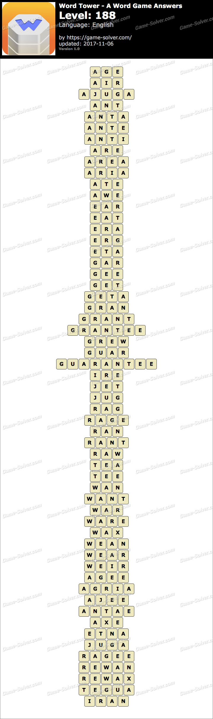Word Tower Level 188 Answers