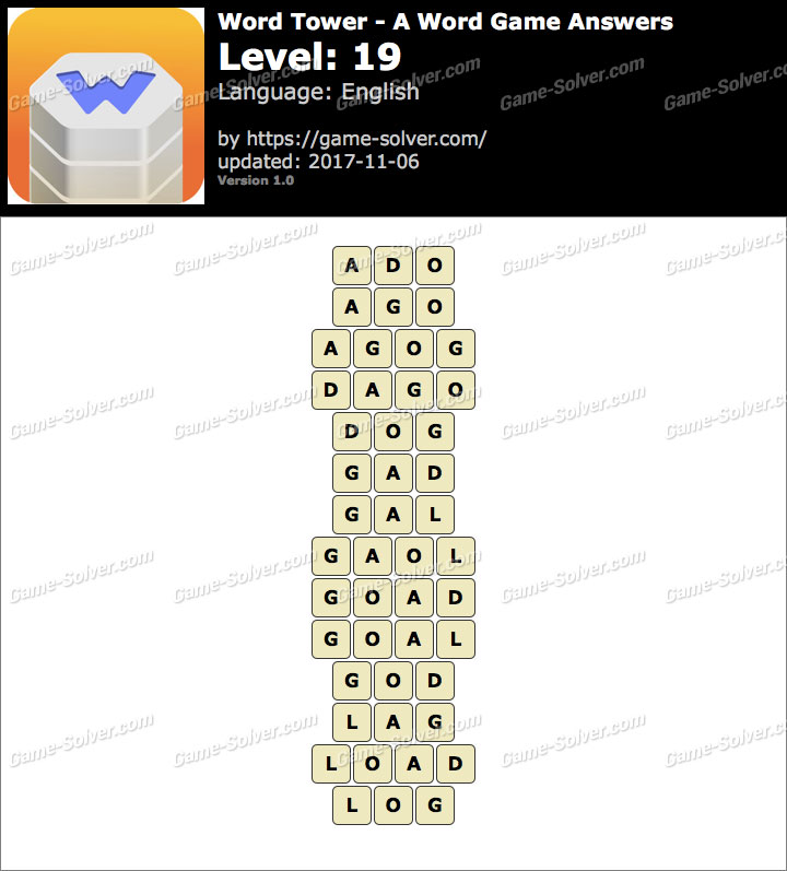 Word Tower Level 19 Answers