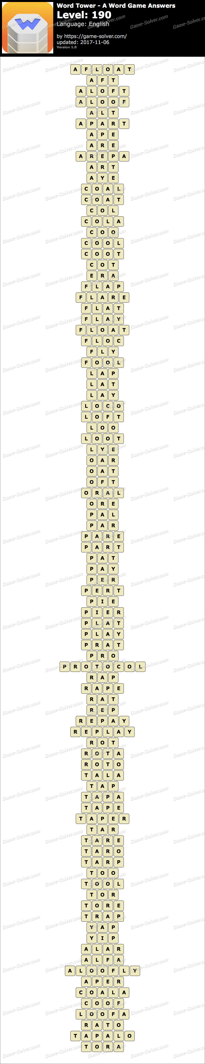 Word Tower Level 190 Answers