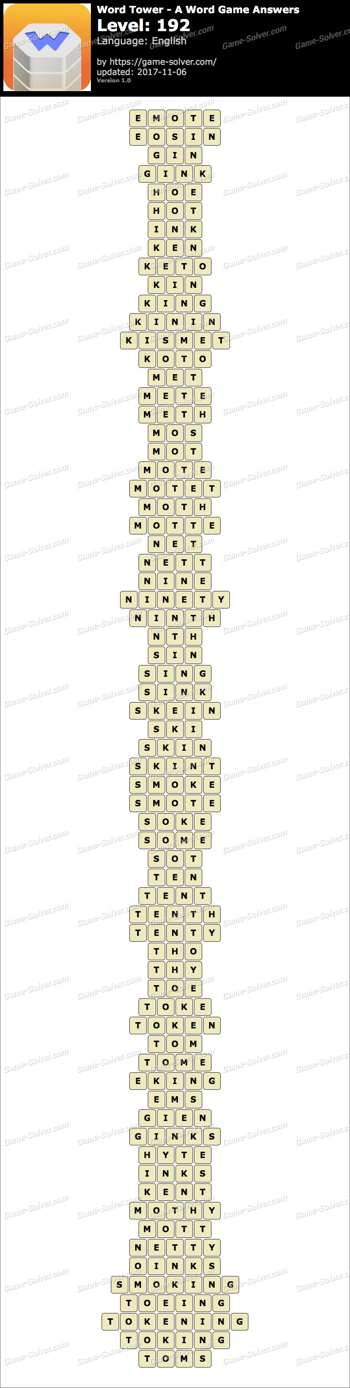 Word Tower Level 192 Answers