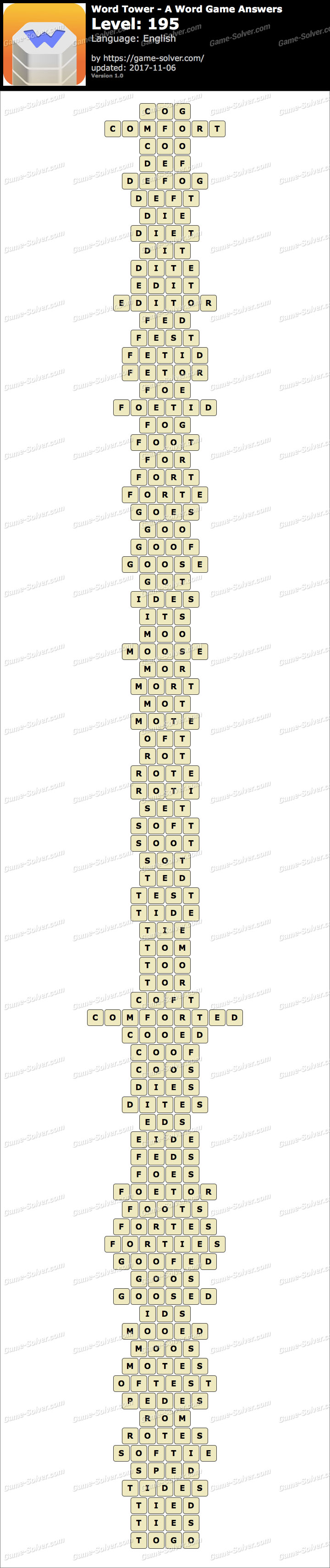 Word Tower Level 195 Answers
