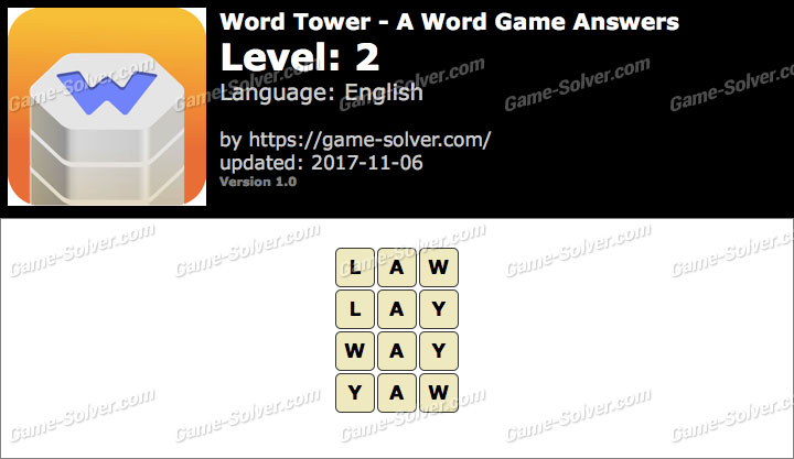 Word Tower Level 2 Answers