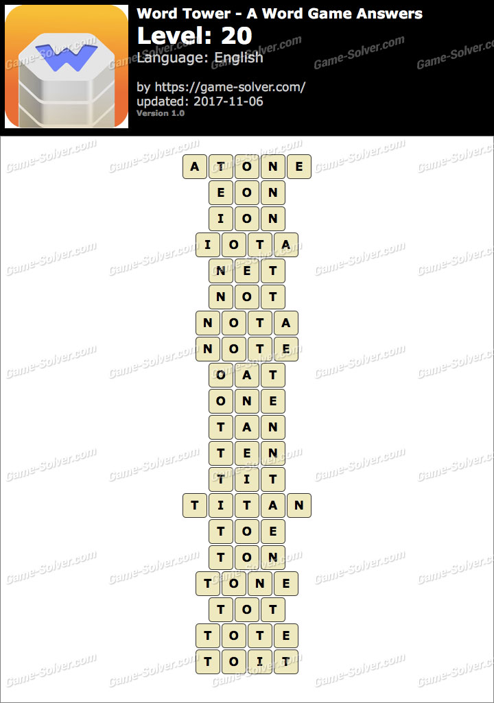 Word Tower Level 20 Answers