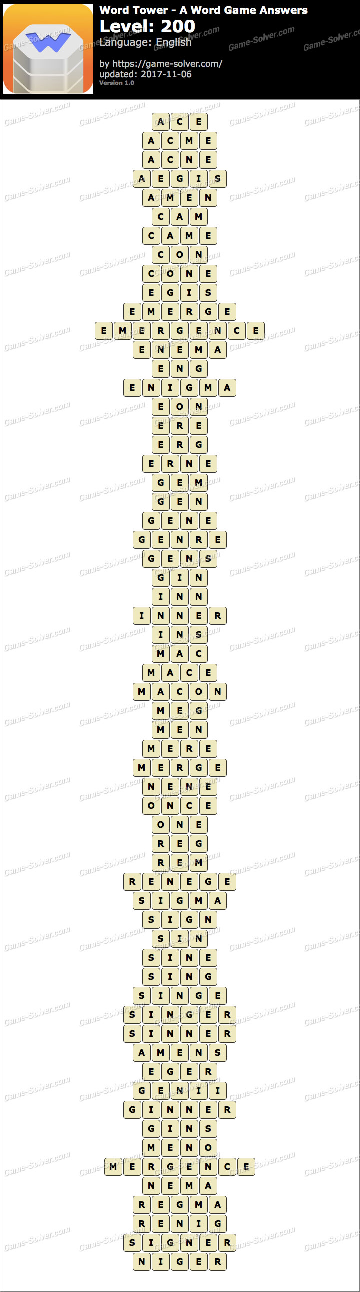 Word Tower Level 200 Answers