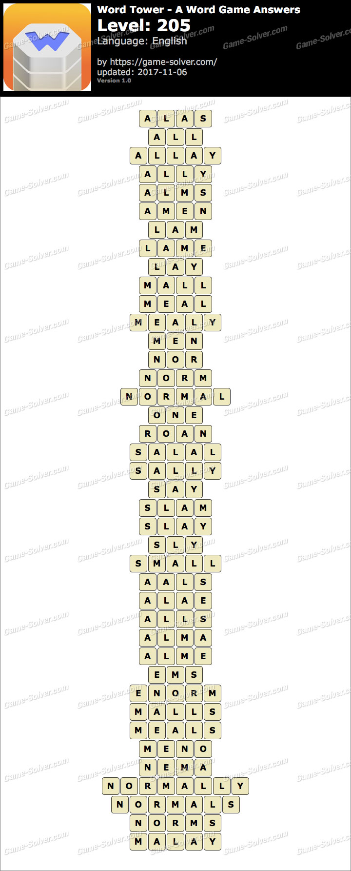Word Tower Level 205 Answers