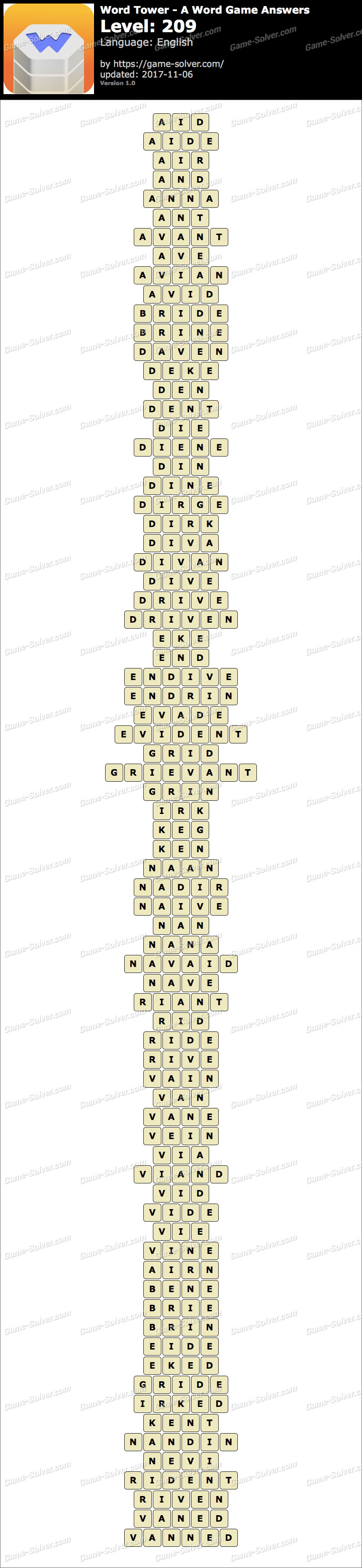 Word Tower Level 209 Answers