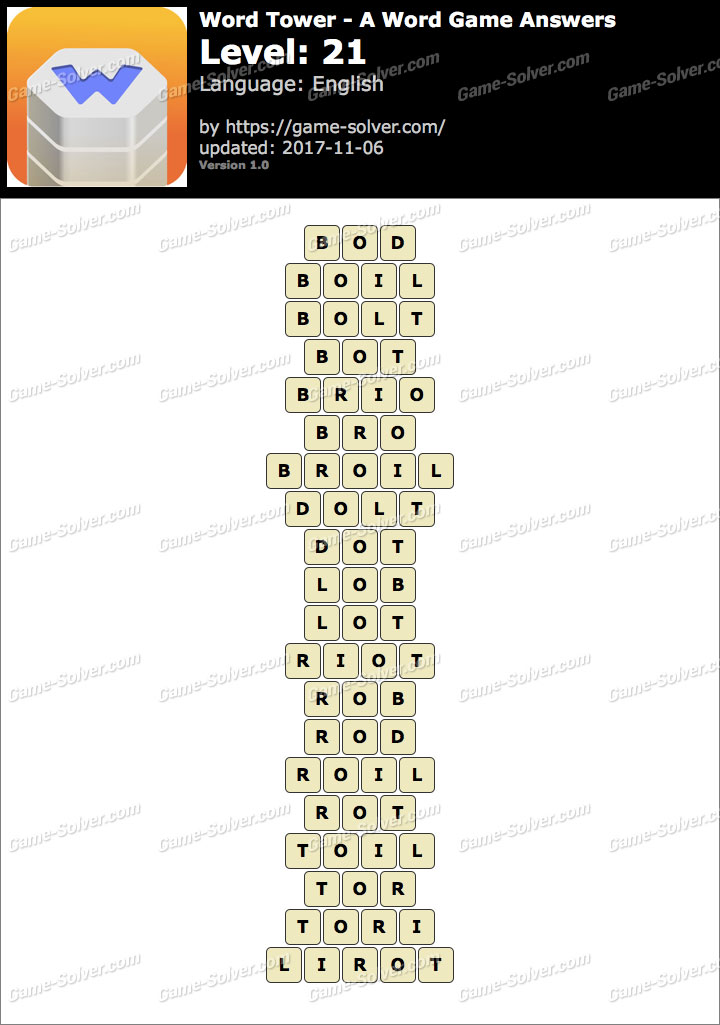 Word Tower Level 21 Answers