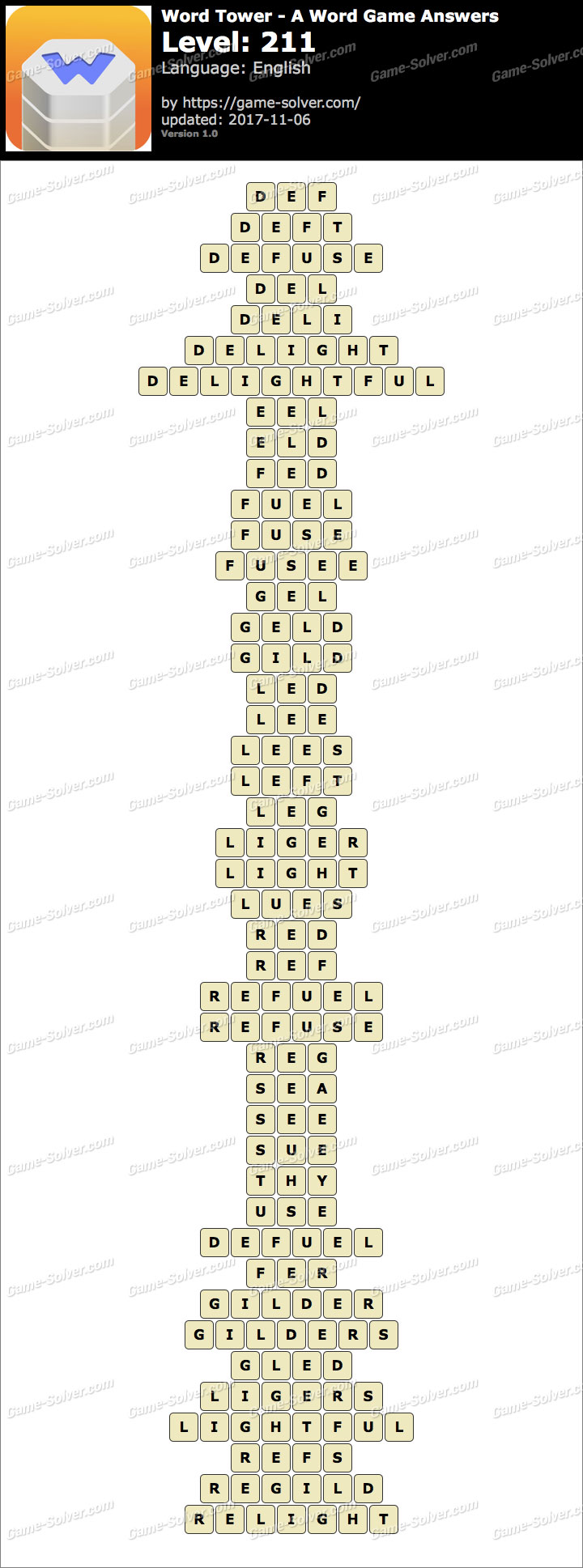Word Tower Level 211 Answers