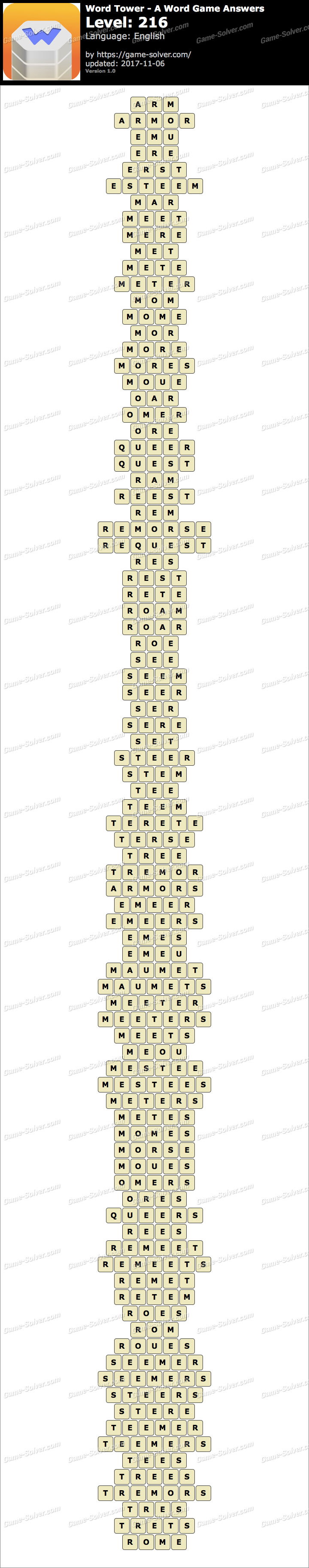 Word Tower Level 216 Answers