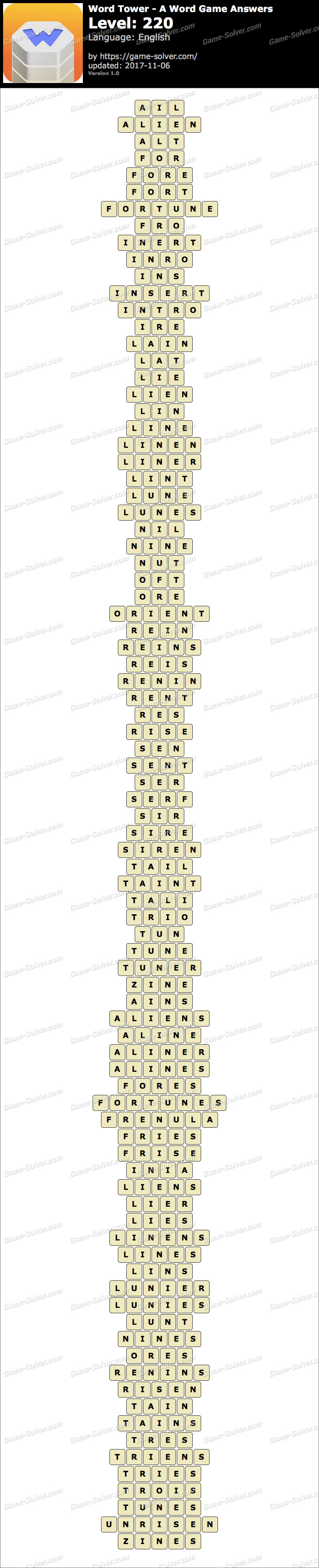 Word Tower Level 220 Answers