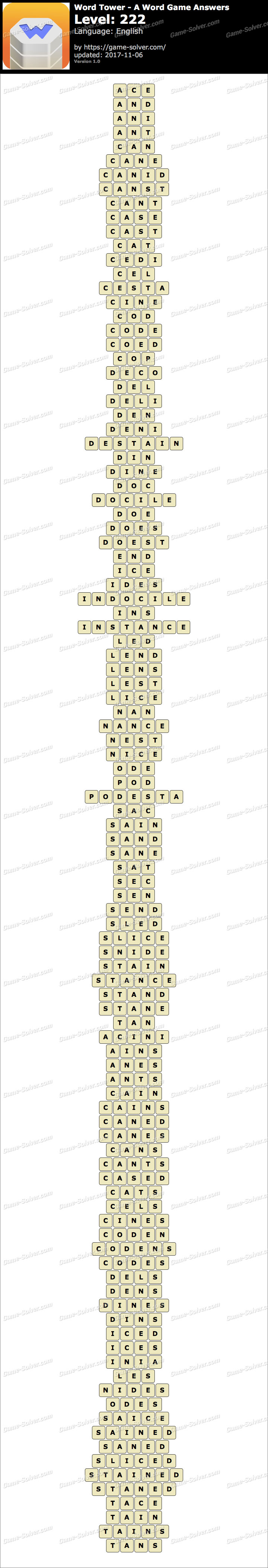 Word Tower Level 222 Answers