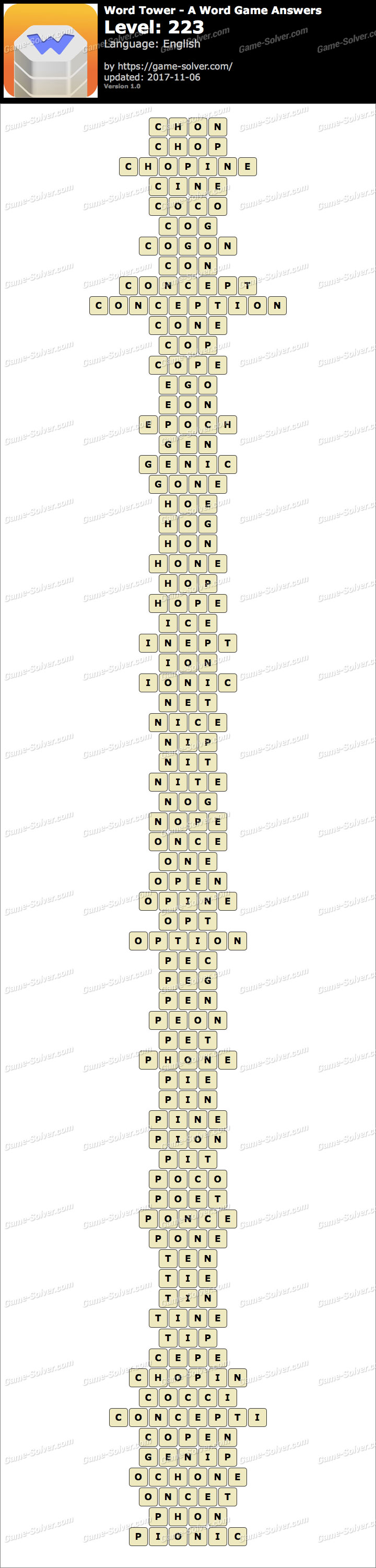 Word Tower Level 223 Answers