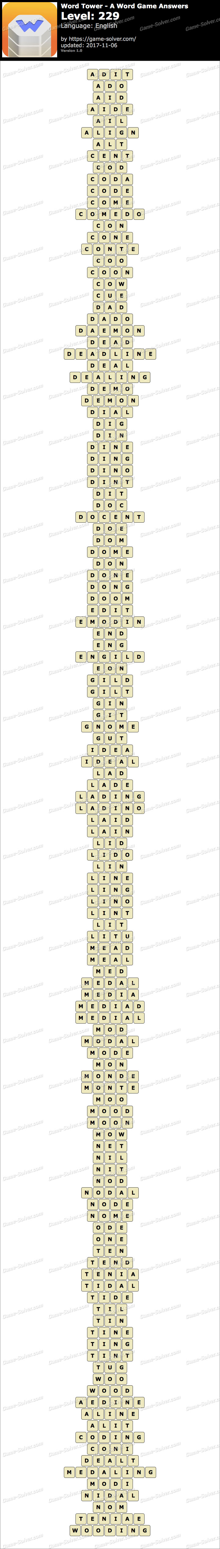 Word Tower Level 229 Answers