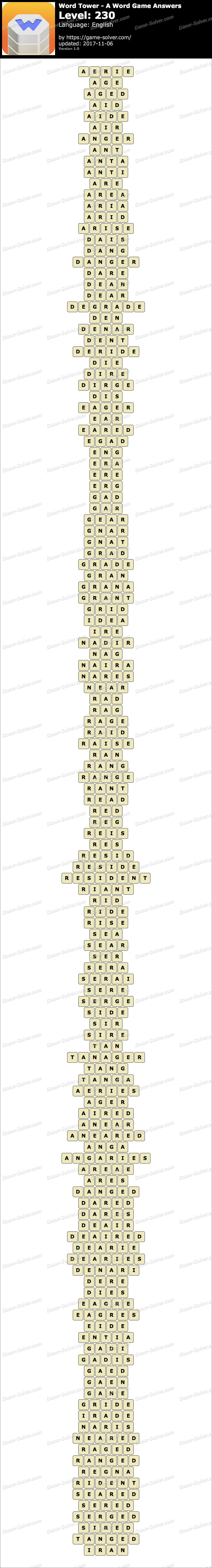 Word Tower Level 230 Answers