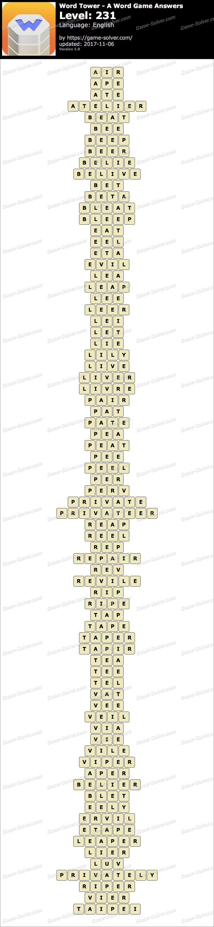 Word Tower Level 231 Answers