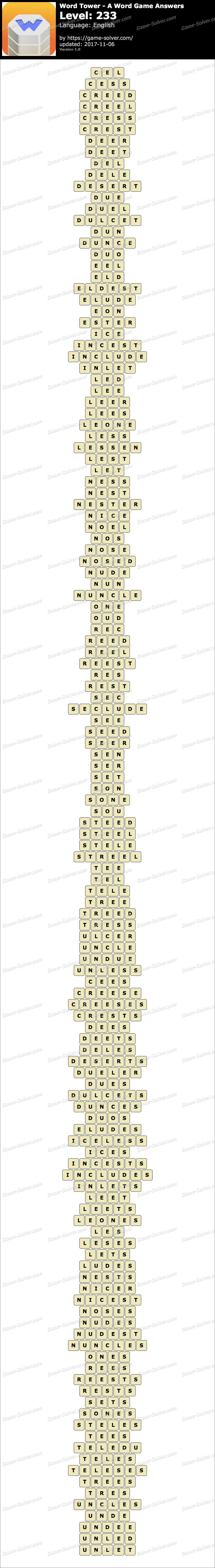 Word Tower Level 233 Answers