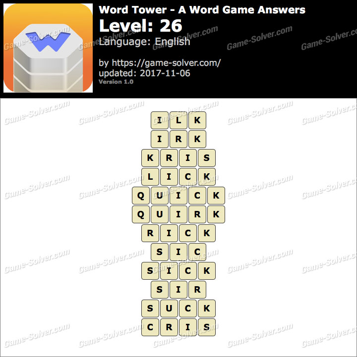 Word Tower Level 26 Answers