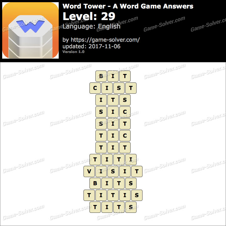 Word Tower Level 29 Answers