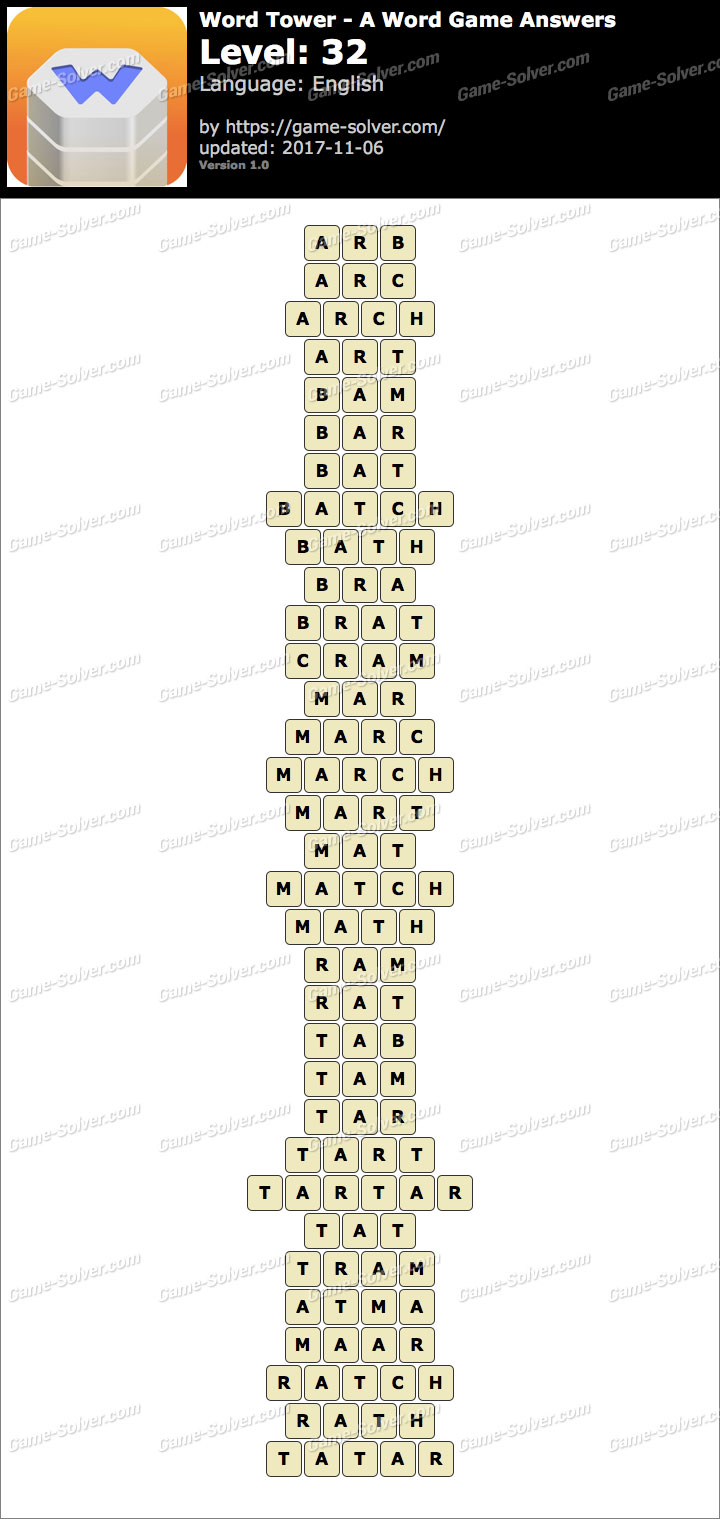 Word Tower Level 32 Answers