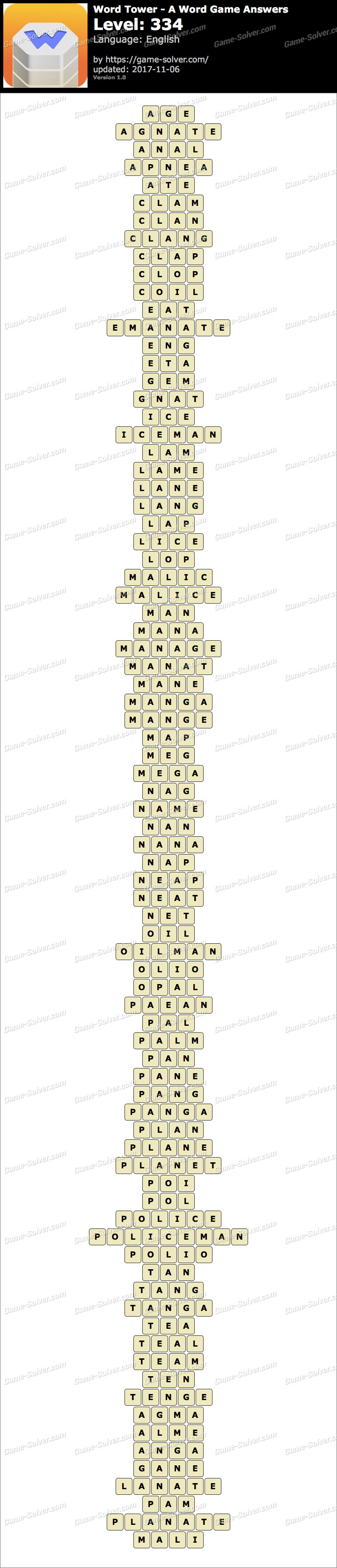 Word Tower Level 334 Answers