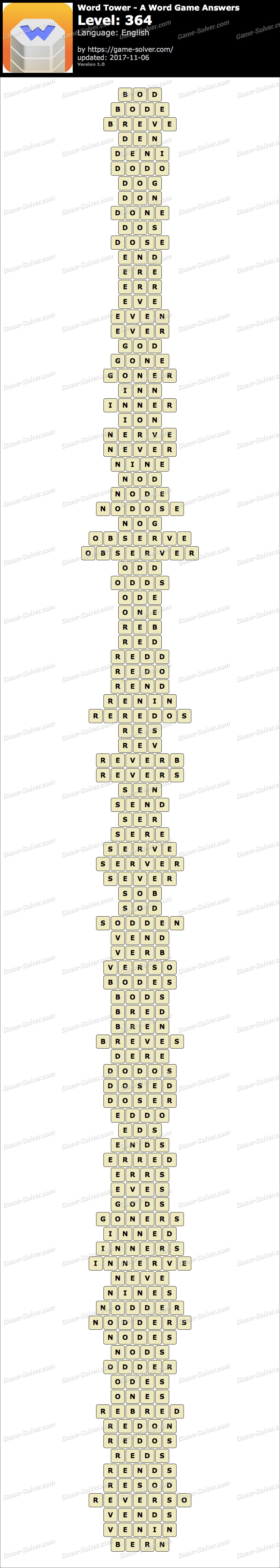 Word Tower Level 364 Answers