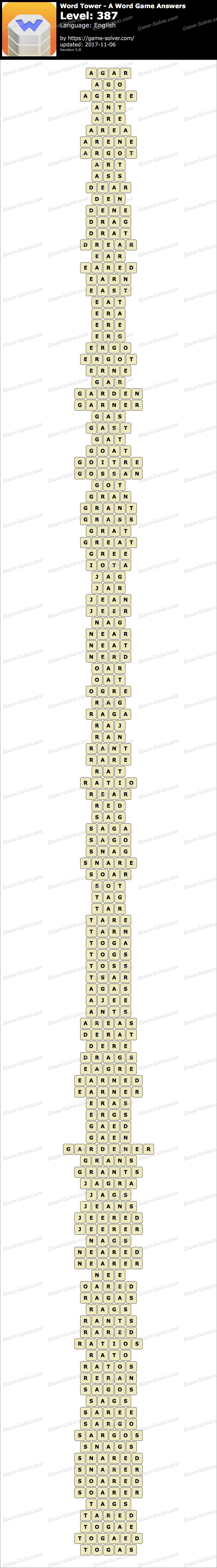 Word Tower Level 387 Answers