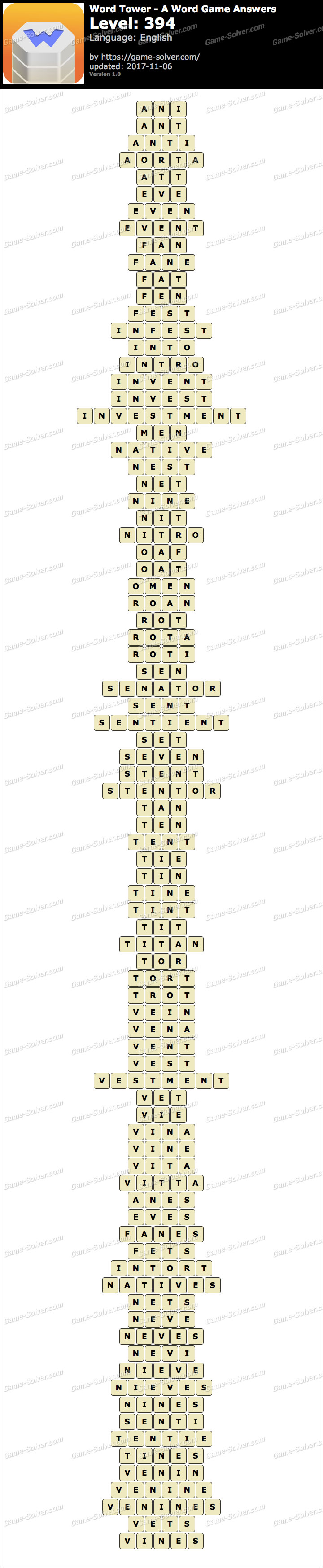 Word Tower Level 394 Answers