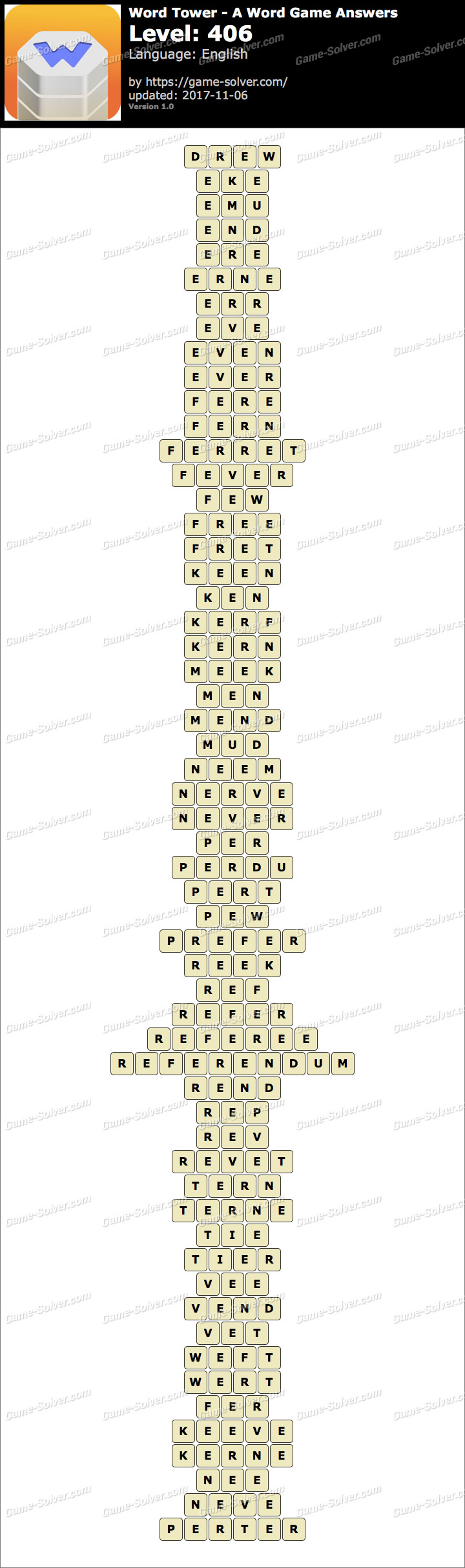Word Tower Level 406 Answers