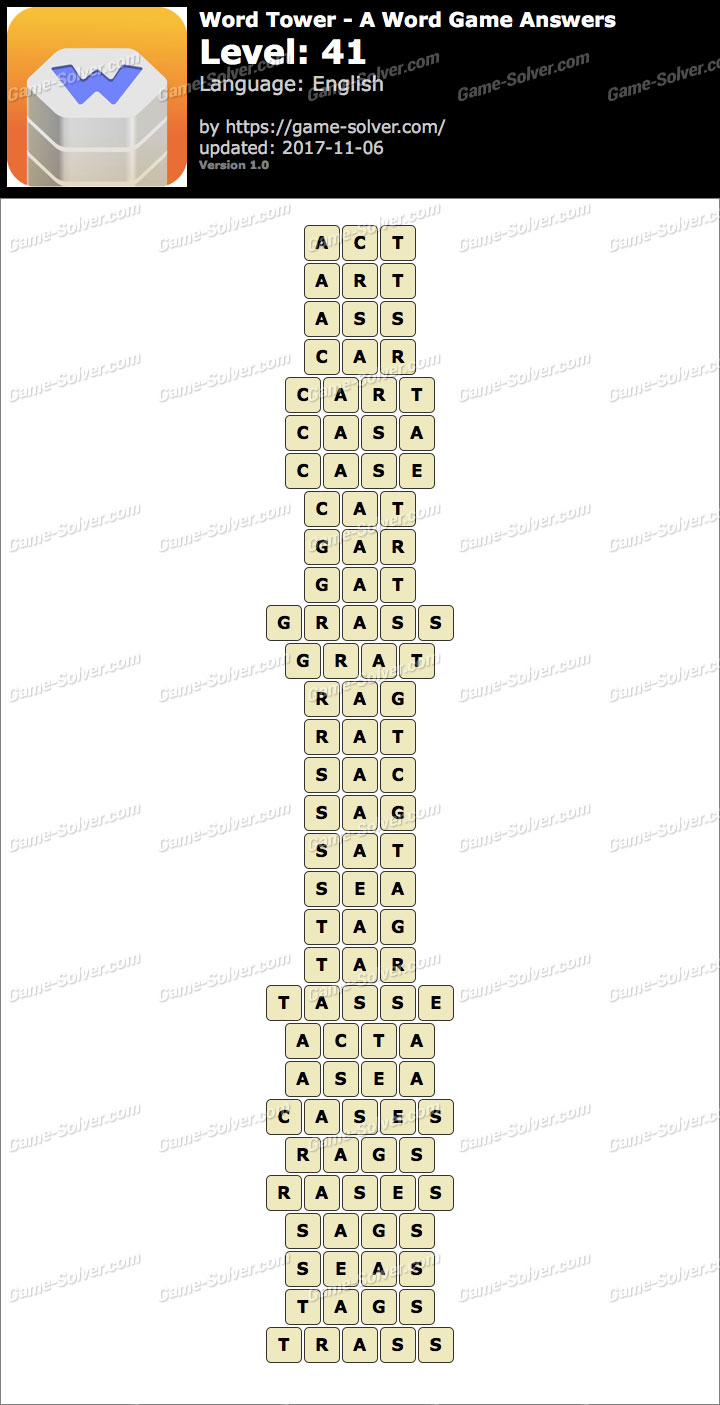 Word Tower Level 41 Answers